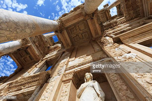 low angle view of the library of celus in ephesus, turkey - ancient greece photos stock pictures, royalty-free photos & images