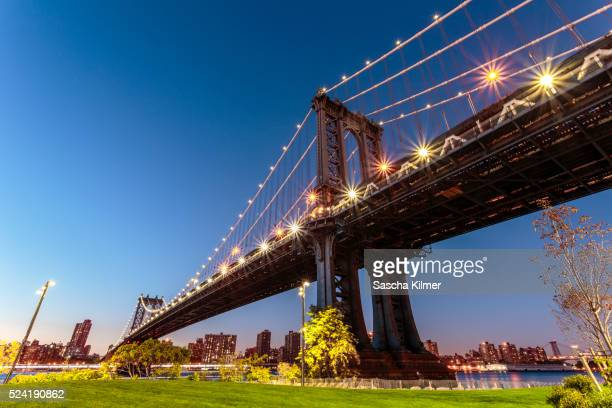 Low angle view of the Manhattan Bridge