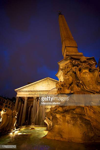 Low angle view of the pantheon in Rome at night
