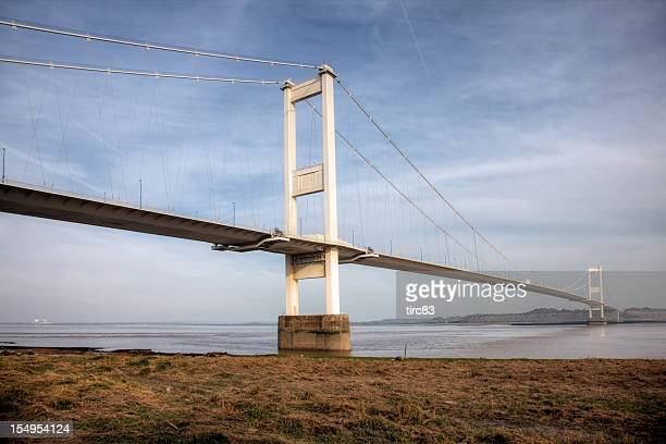 Low angle view of the Severn Bridge from Wales side