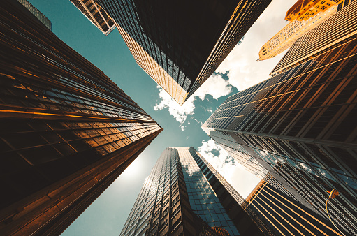 low angle view of the skyscrapers in nyc 926689776