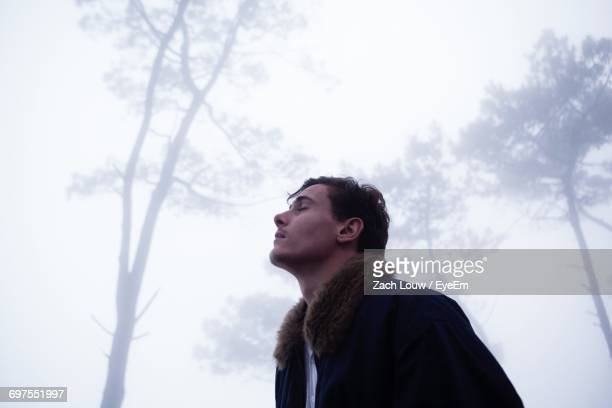 Low Angle View Of Thoughtful Man Standing In Forest During Foggy Weather