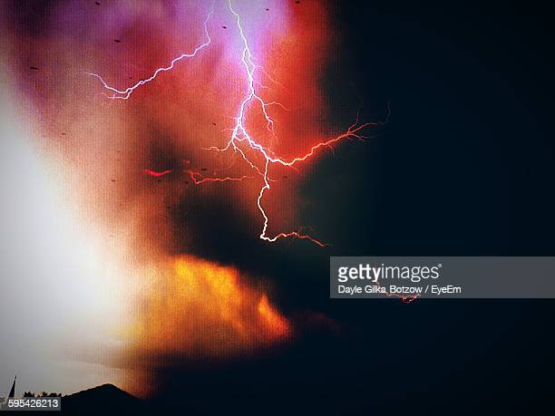 Low Angle View Of Thunderstorm In Cloudy Sky