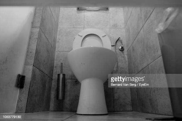 Low Angle View Of Toilet Bowl In Bathroom At Home