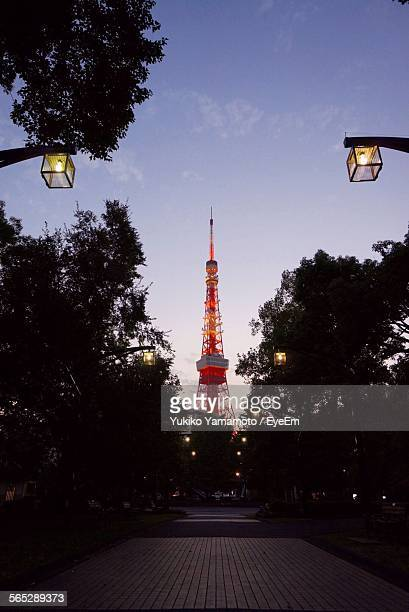 Low Angle View Of Tokyo Tower In City Against Sky At Dusk