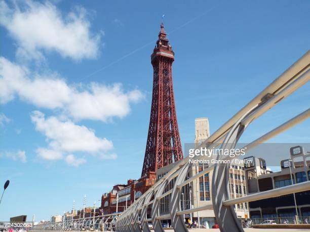 low angle view of tower - blackpool stock photos and pictures