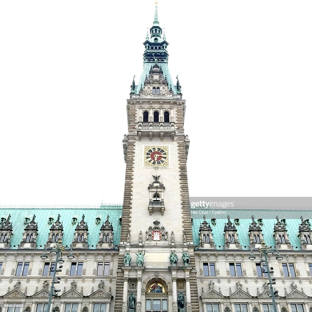 Low Angle View Of Town Hall Building Against Clear Sky : Stock Photo
