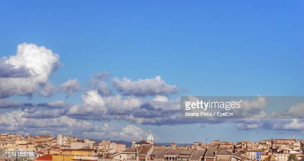 low angle view of townscape against sky - province of caltanissetta stock photos and pictures