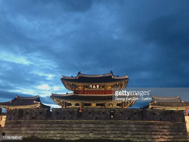 low angle view of traditional building against sky - jeonju stock pictures, royalty-free photos & images