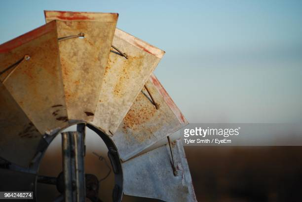 low angle view of traditional windmill - san angelo texas stock pictures, royalty-free photos & images