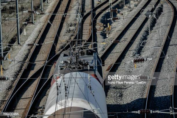 Low Angle View Of Train On Railroad Tracks
