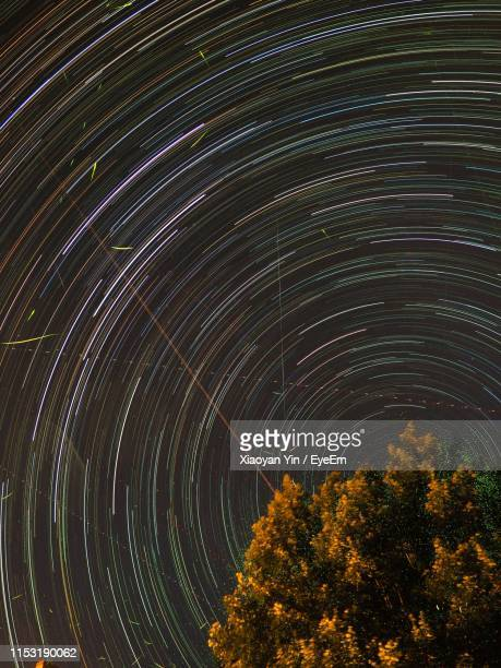 low angle view of tree against star trails at night - blacksburg stock pictures, royalty-free photos & images