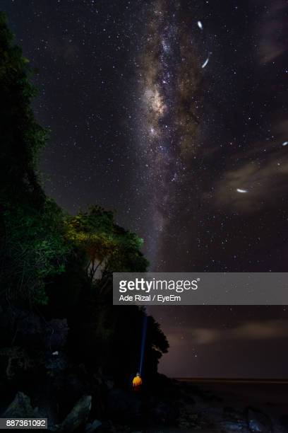low angle view of trees against star field at night - ade rizal stock photos and pictures