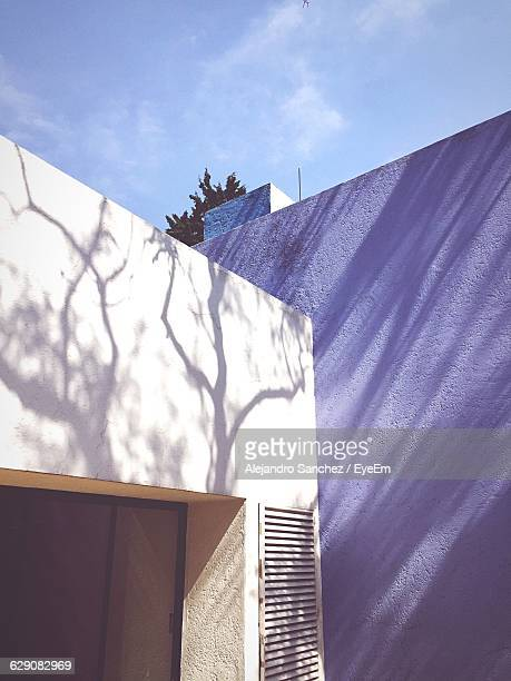 Low Angle View Of Trees Shadow On White House Wall Against Sky