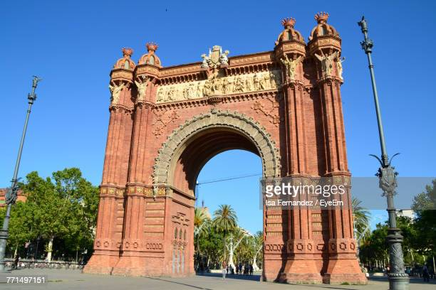 Low Angle View Of Triumphal Arch Against Clear Blue Sky