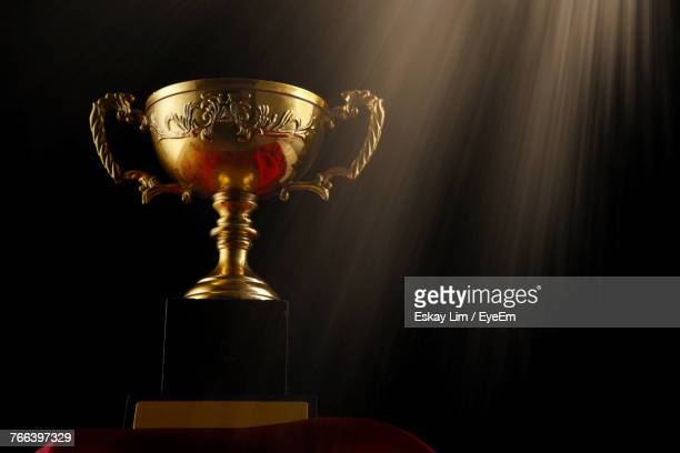 Low Angle View Of Trophy Against Black Background