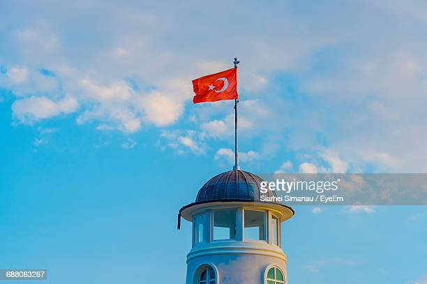 Low Angle View Of Turkish Flag On Lighthouse Against Sky