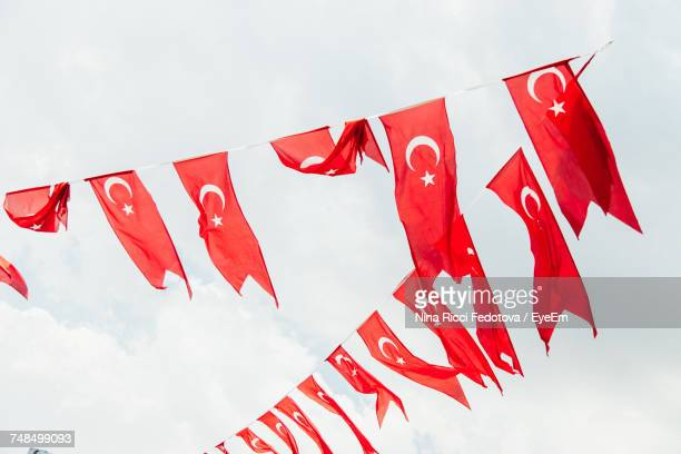 Low Angle View Of Turkish Flags Against Sky