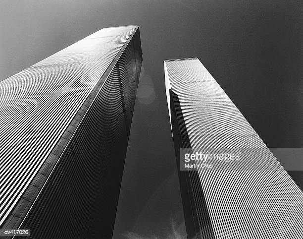 Low angle view of Twin Towers, New York, USA