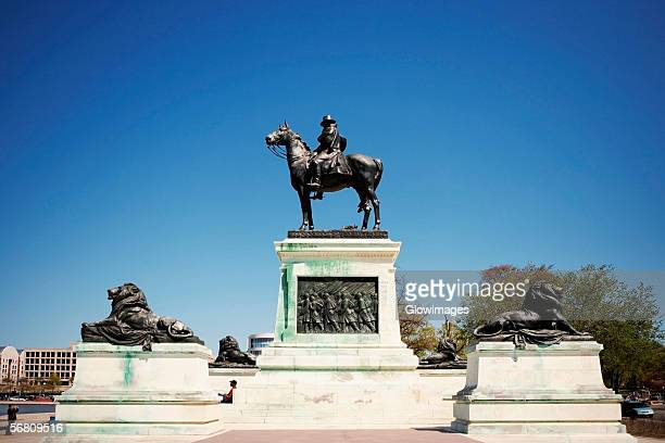 low angle view of ulysses s. grant on a horseback statue, united states capitol building, washington dc, usa - ulysses s. grant stock photos and pictures
