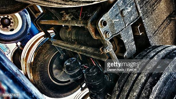 Low Angle View Of Under The Truck Parked On Street