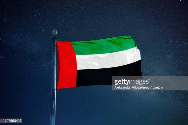 low angle view of united arab emirates flag against star field sky - united arab emirates flag stock photos and pictures