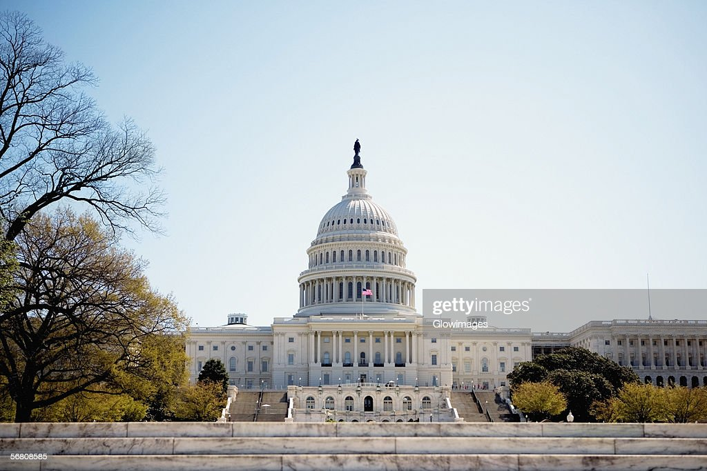 Low angle view of United States Capitol Building, Washington DC, USA : Stock Photo