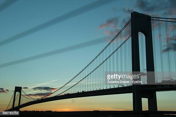 Low Angle View Of Verrazano-Narrows Bridge Against Sky During Sunset