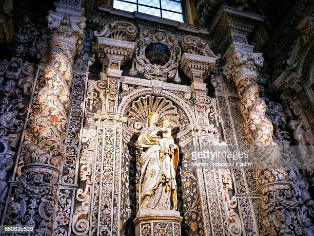 low angle view of virgin mary with baby jesus christ san giuseppe dei teatini ceiling - artistic product stock photos and pictures