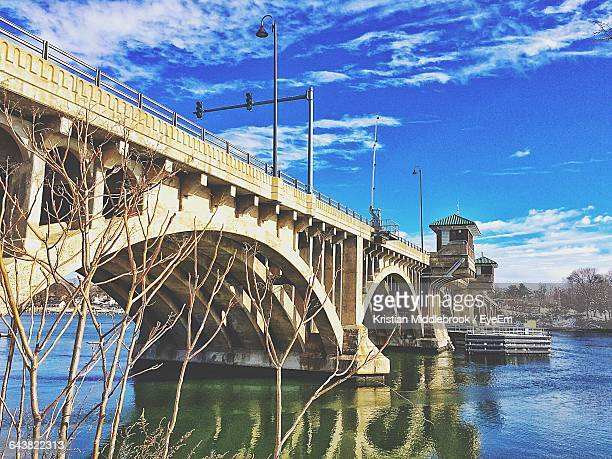 low angle view of washington bridge over housatonic river - connecticut stock pictures, royalty-free photos & images