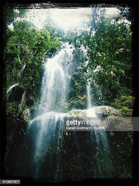 low angle view of waterfall - negros oriental stock pictures, royalty-free photos & images