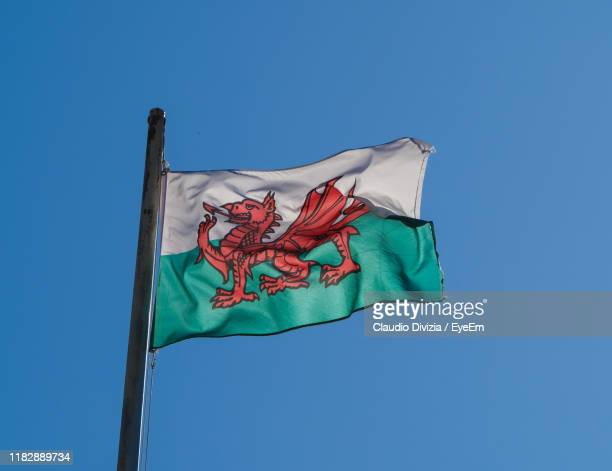 low angle view of welsh flag against clear blue sky - welsh flag stock pictures, royalty-free photos & images