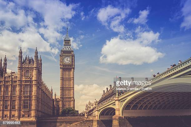 Low Angle View Of Westminster Bridge And Big Ben Against Sky