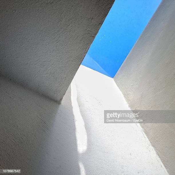 low angle view of white wall - whitewashed stock photos and pictures