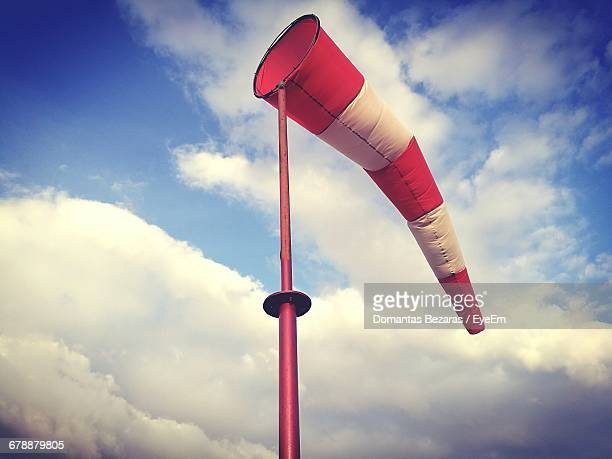 Low Angle View Of Windsock Blowing In Wind