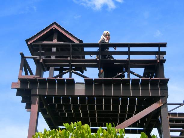 Low Angle View Of Woman At Built Structure