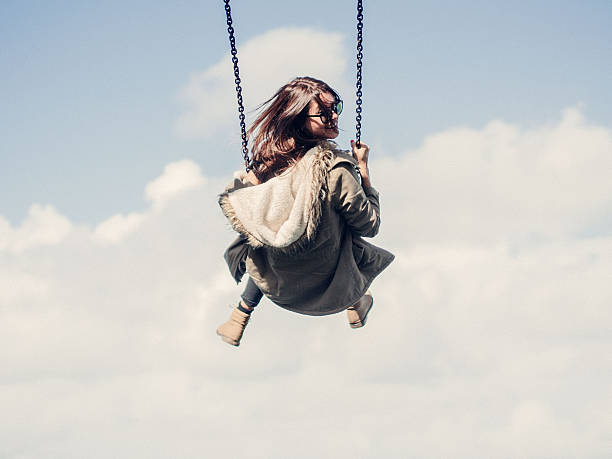 Low Angle View Of Woman On Swing Against Cloudy Sky Wall Art