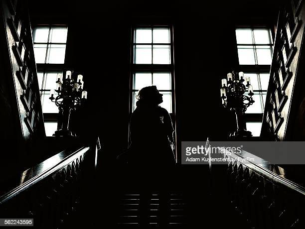 Low Angle View Of Woman Standing On Steps In Building