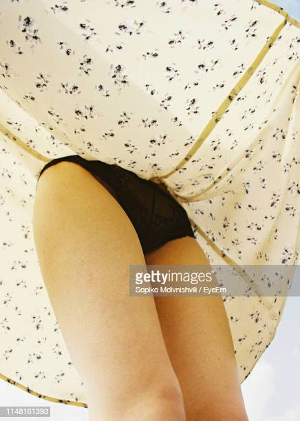 low angle view of woman wearing panties under skirt - femmes en culottes photos et images de collection