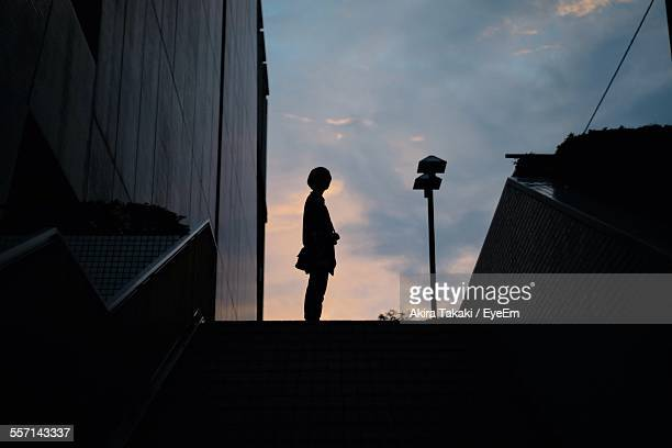 Low Angle View Of Womans Silhouette