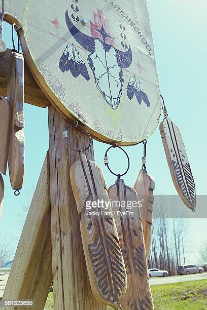 Low Angle View Of Wooden Dreamcatcher