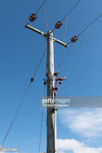 low angle view of wooden electricity pylon - wood material stock pictures, royalty-free photos & images
