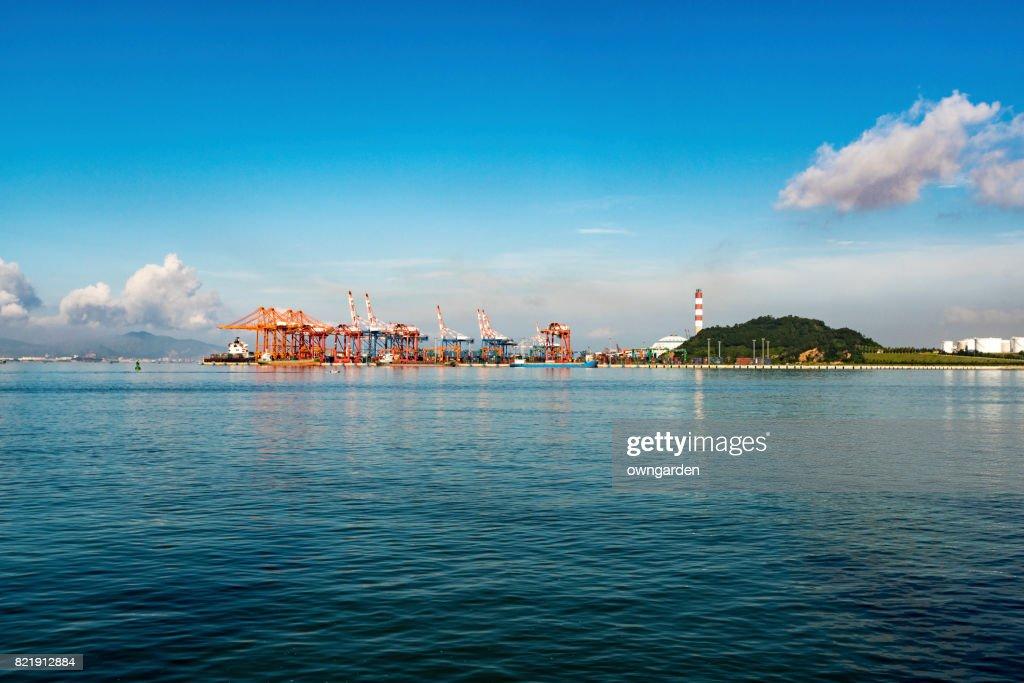 Low Angle view of Xiamen port, Fujian, China : Stock Photo