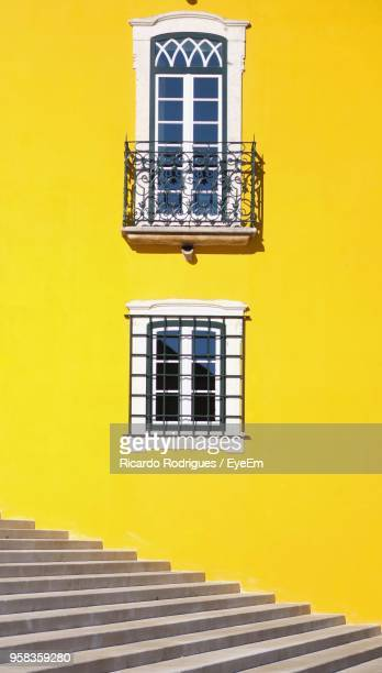 low angle view of yellow steps against clear sky - portugal photos et images de collection