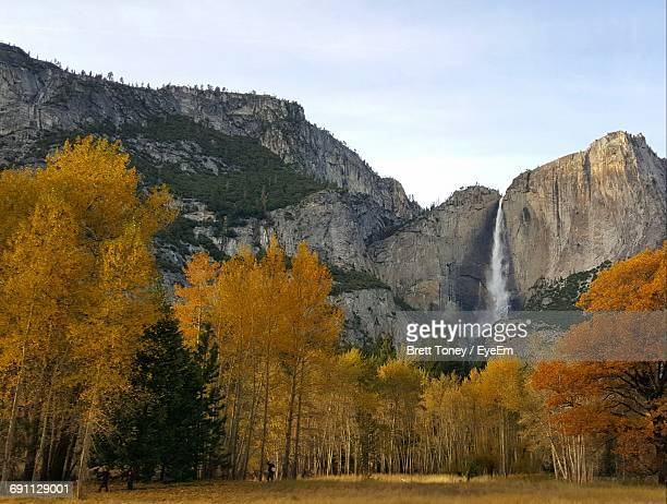 Low Angle View Of Yosemite Falls Against Sky