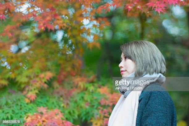 Low Angle View Of Young Woman Standing Against Trees At Park During Autumn
