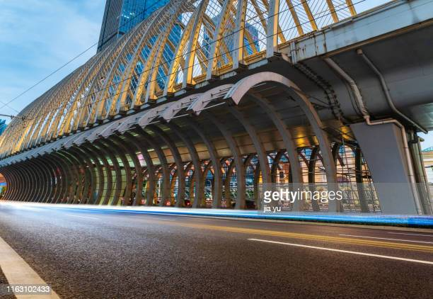 low angle view of zhongbei road overpass in wuhan - wuhan stock pictures, royalty-free photos & images