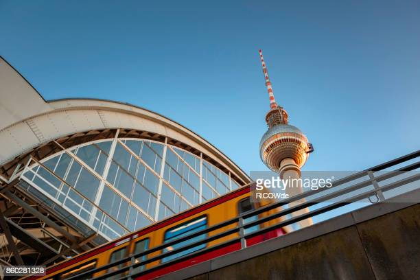 low angle view with tv tower and s-bahn