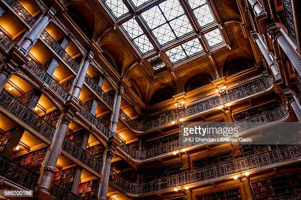 Low camera angle shot of the George Peabody Library at Johns Hopkins University 2016 Courtesy Eric Chen