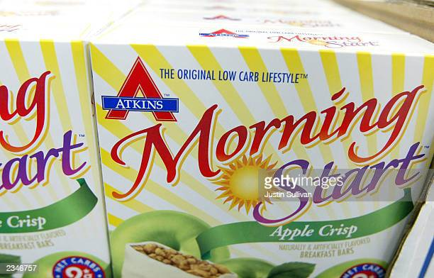 Low carb Atkins breakfast bars are seen on display at the Castus Low Carb Superstore July 30 2003 in Fremont California Castus owner Rick Schott...